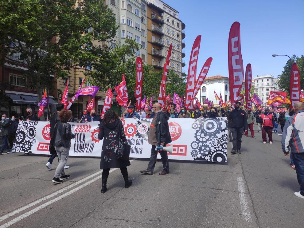 Manifestación en Zaragoza por el 1 de mayo.