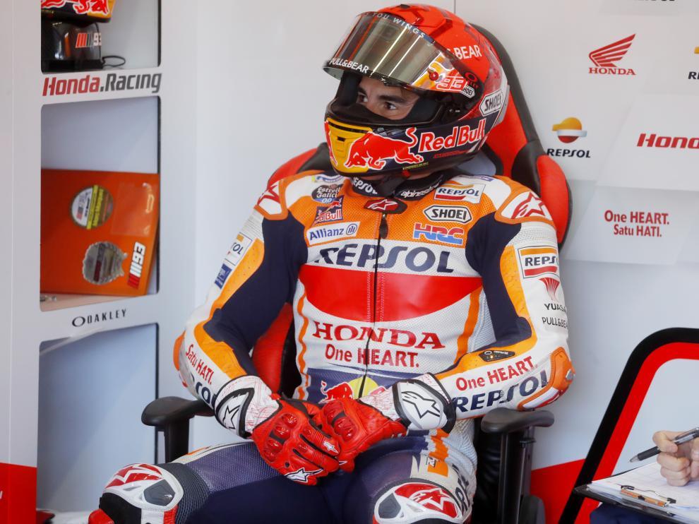Marc Márquez, durante la sesión de hoy en Jerez.