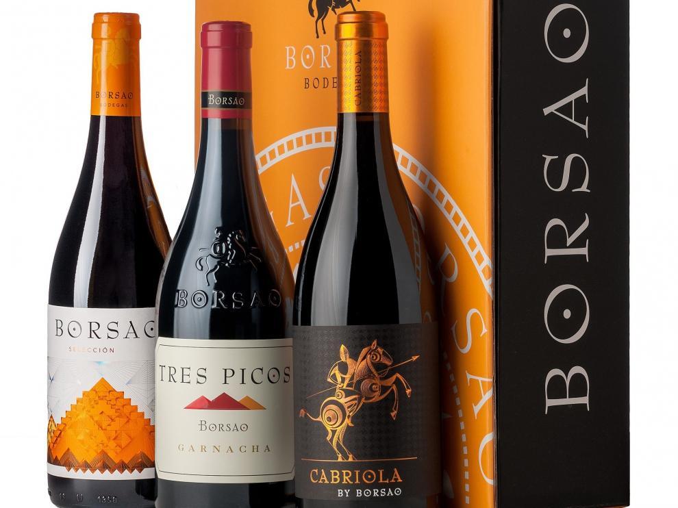 Tres de los vinos de Bodegas Borsao premiados en Vinespaña 2021.
