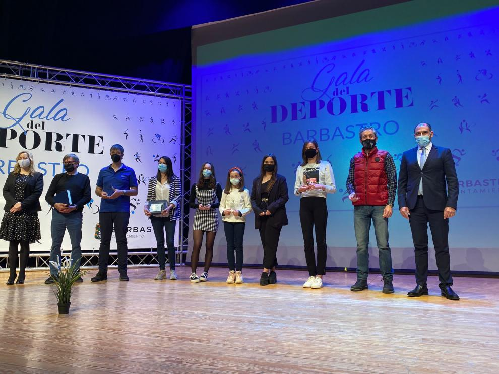 Los homenajeados en la Gala del Deporte de Barbastro