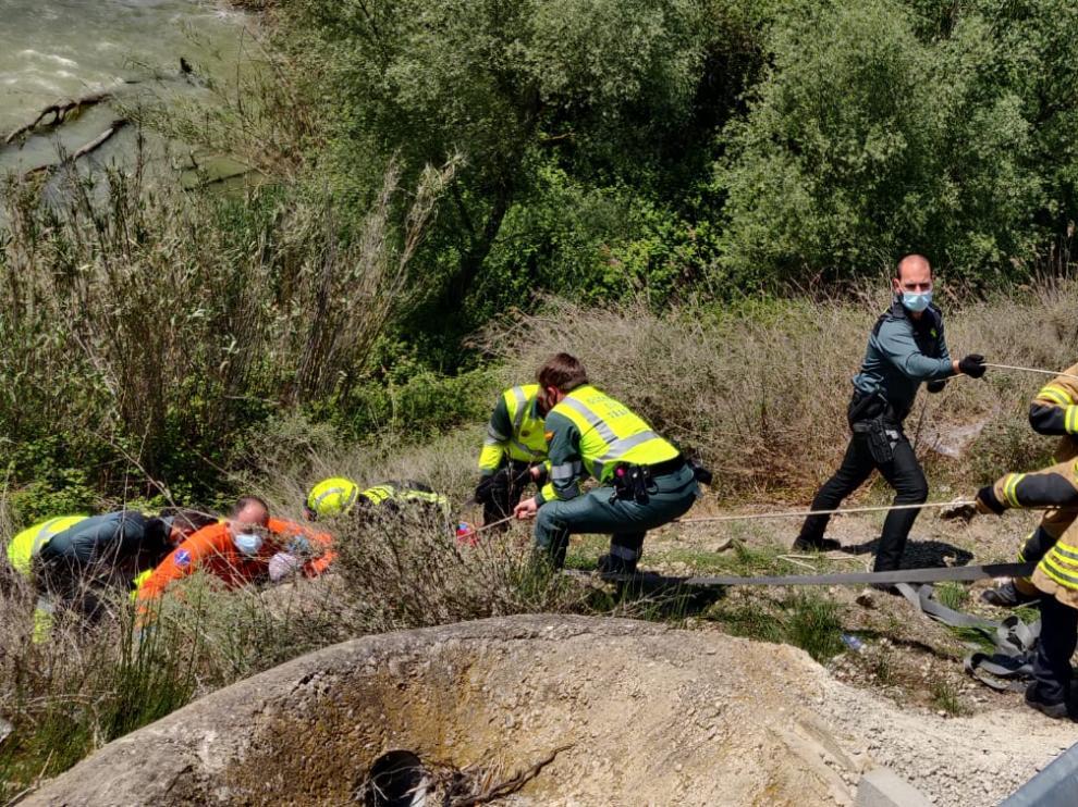 Rescate del ciclista herido