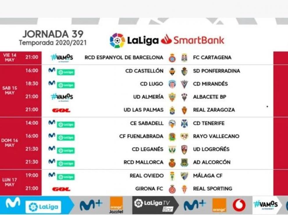 Horarios y fechas de la jornada 39ª de Segunda División.