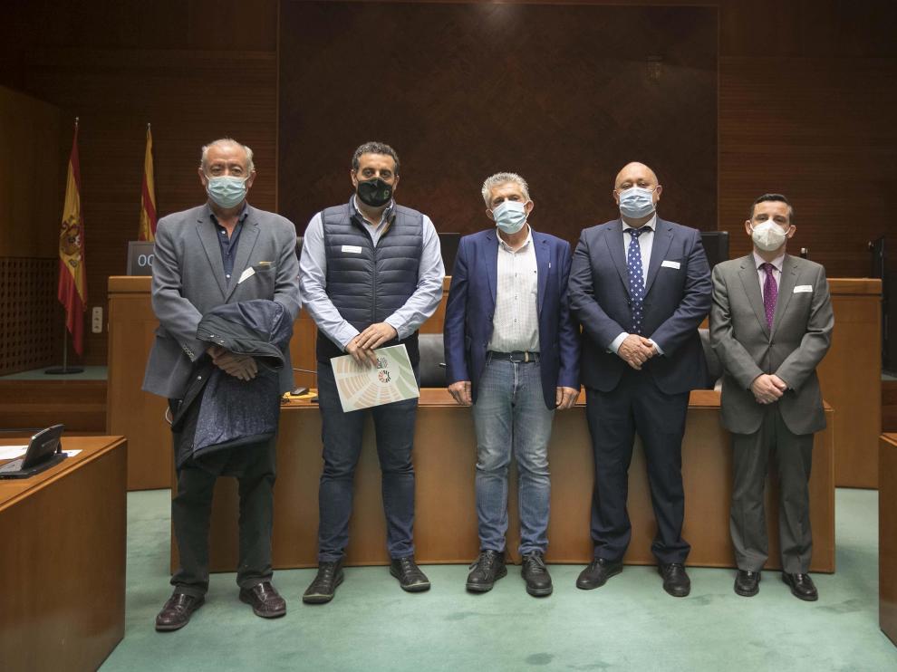 Los representantes de Agrica, ayer en la comisión de Comparecencias de las Cortes de Aragón.