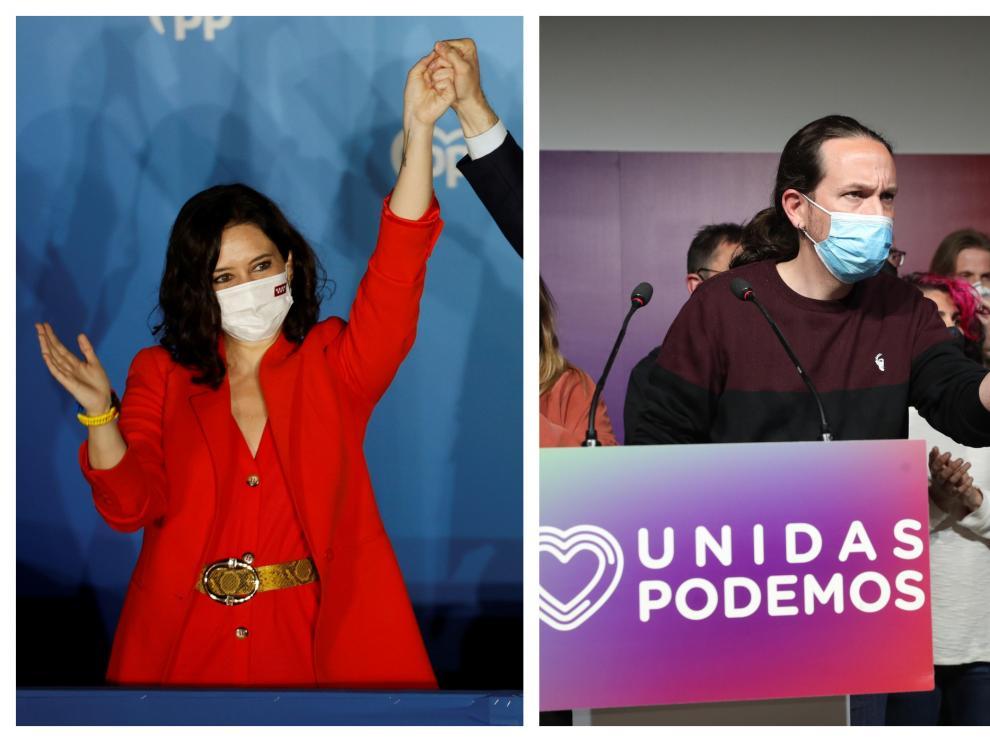 Isabel Díaz Ayuso y Pablo Iglesias tras la jornada electoral