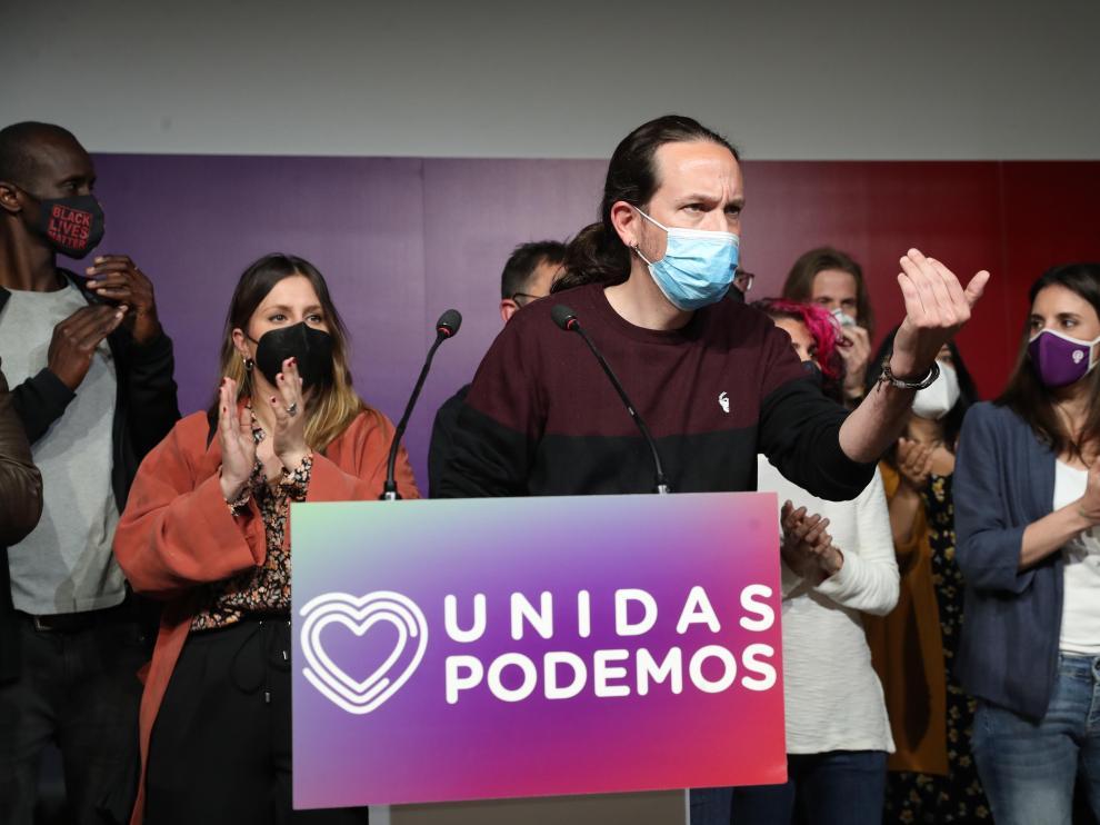 Pablo Iglesias durante su comparecencia tras los resultados electorales