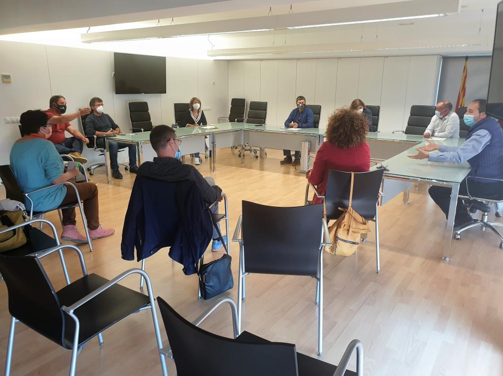 Reunión de alcaldes de Aragón y Lérida en la localidad ilerdense de Alcarrás.