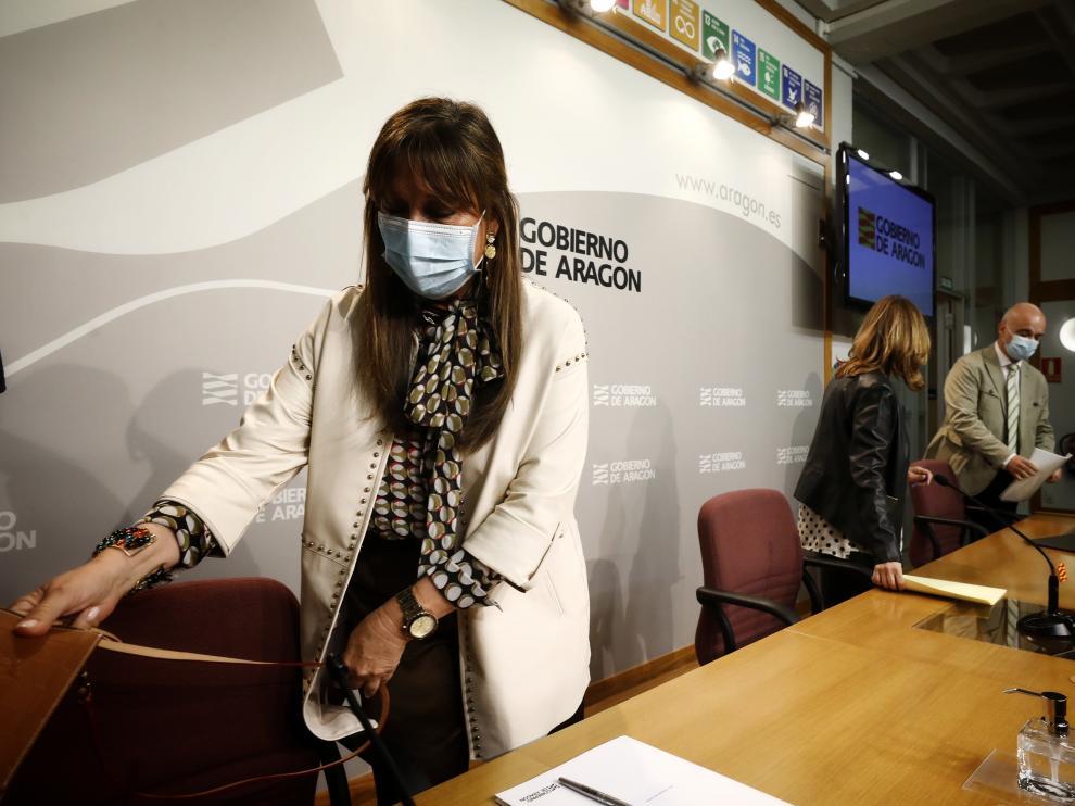Comparecencia de Sira Repollés y Mayte Pérez tras el Consejo de Gobierno.