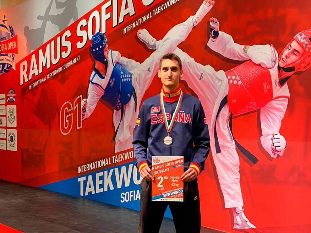 Adrián del Río, subcampeón del Open de Bulgaria de Taekwondo celebrado en marzo.