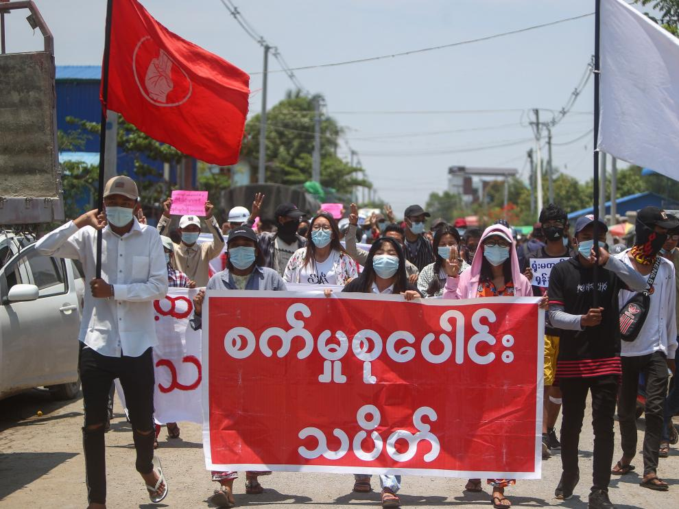 Protest against Myanmar military coup, in Mandalay