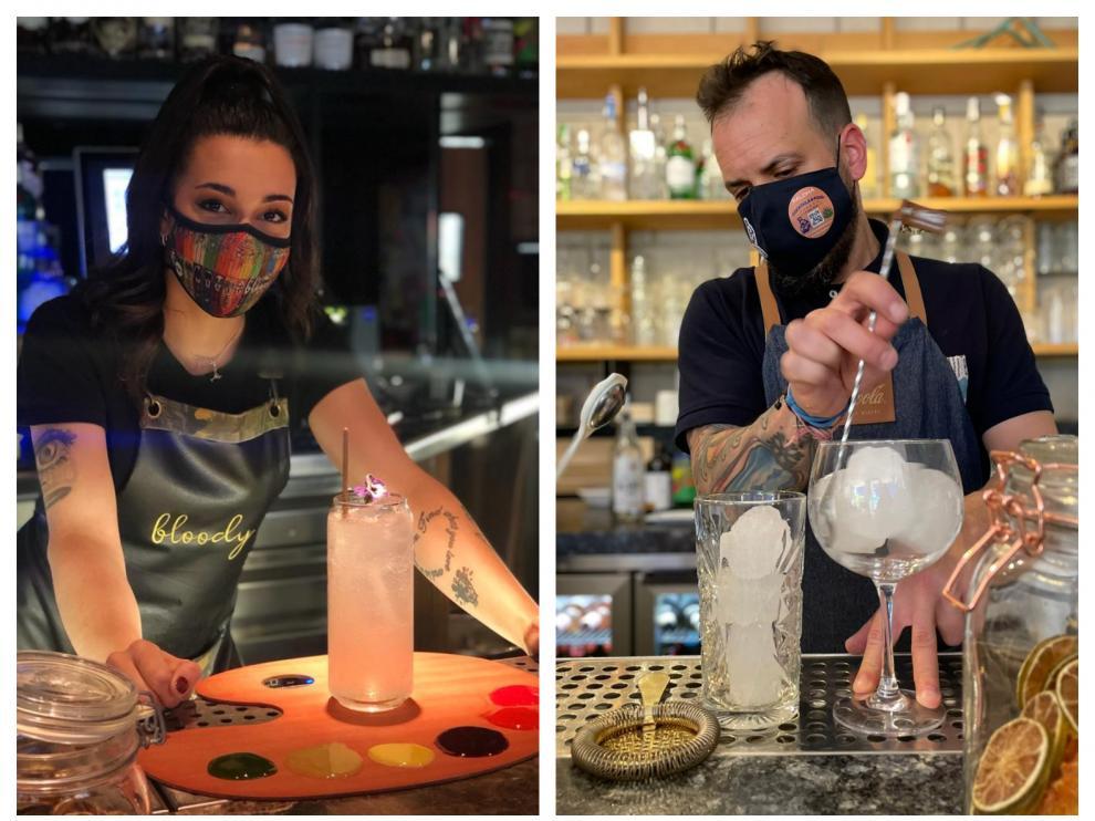 A la izquierda, la propuesta 'La Paleta del genio', de Sonia Díaz, de Bloody; a la derecha, Jimmy Valios de Matisse Riviera Café