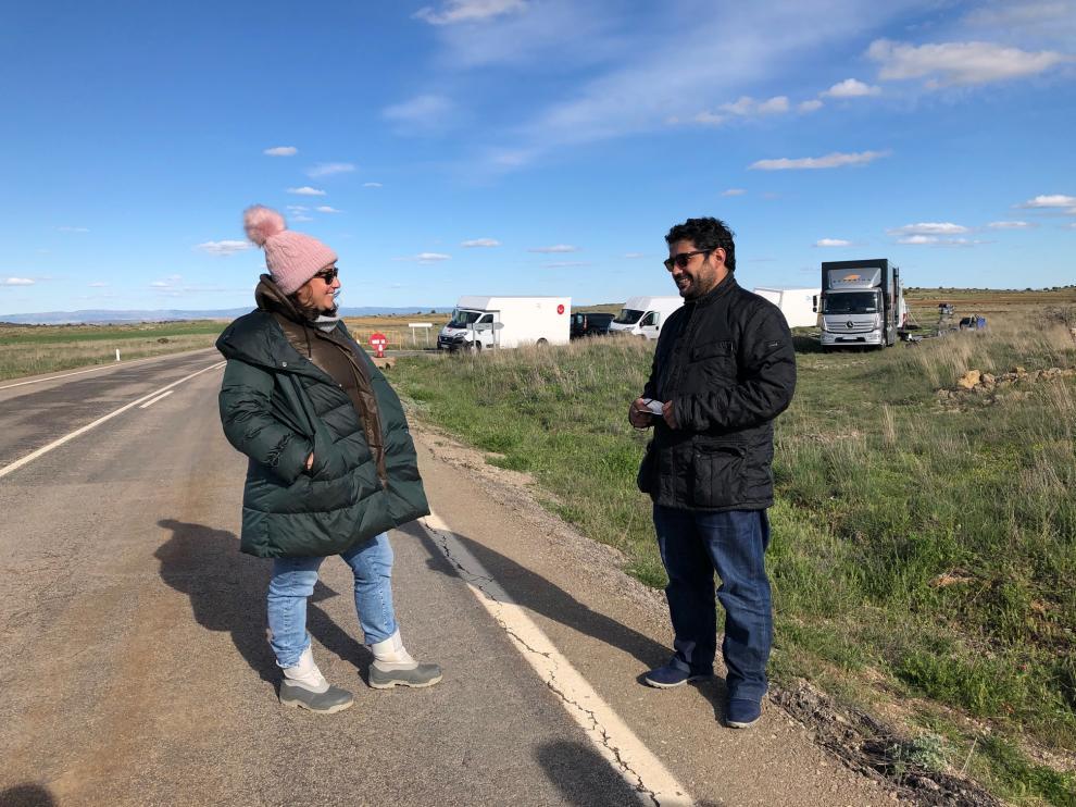 El diputado Diego Piñeiro, durante su visita al rodaje en Pozondón.
