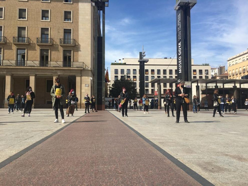 Protesta de las peluquerías en Zaragoza este 17 de mayo de 2021.