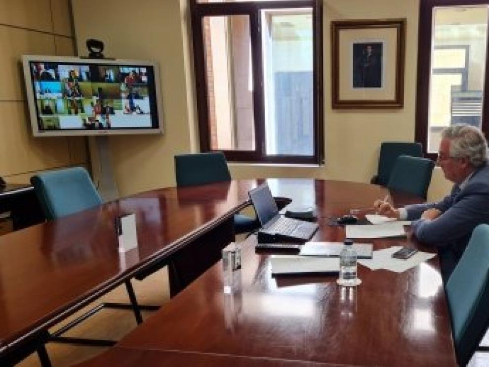 El consejero de Agricultura, en su despacho, en la reunión telemática del consejo consultivo de Política Agrñicola.