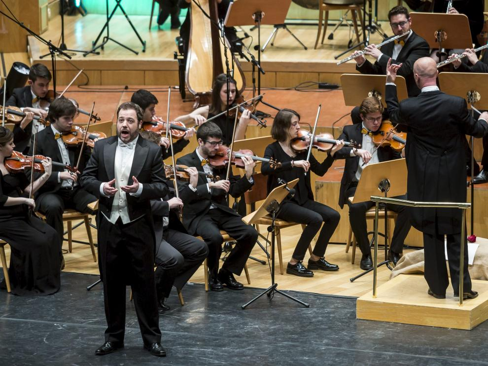 Eduardo Aladrén, durante un concierto en el Auditorio de Zaragoza.