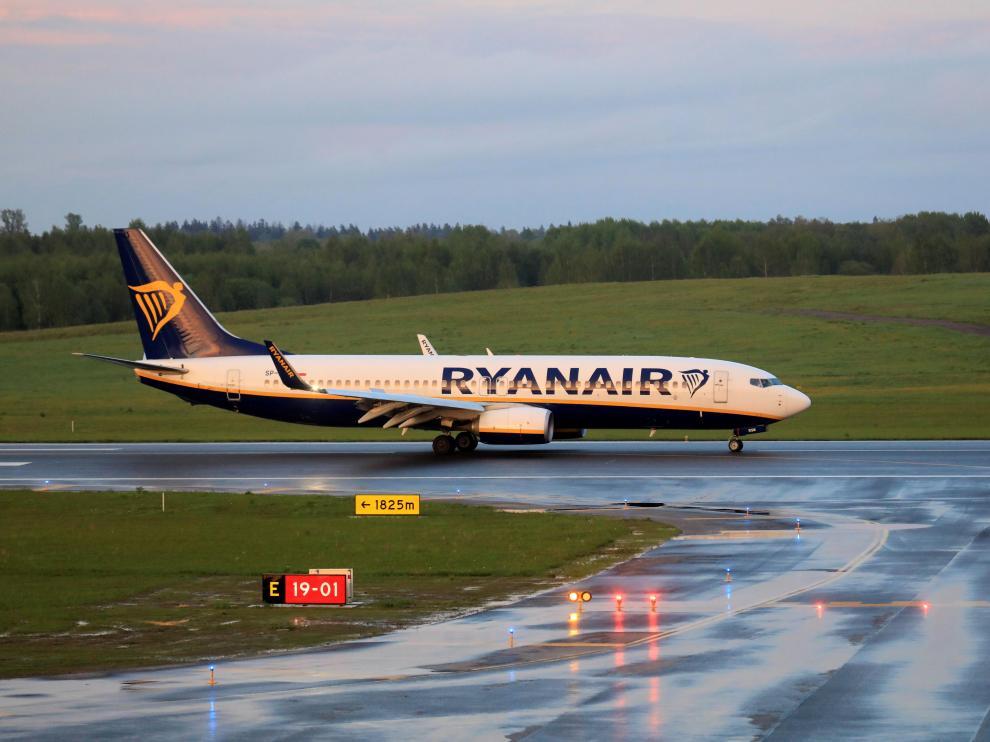 Un vuelo de Ryanair aterriza en Vilna.