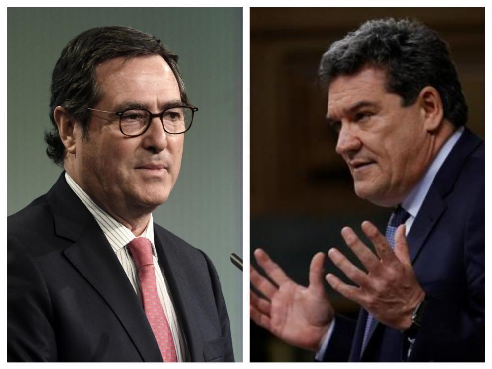 Combo de imágenes del presidente de la CEOE, Antonio Garamendi, y el ministro José Luis Escrivá
