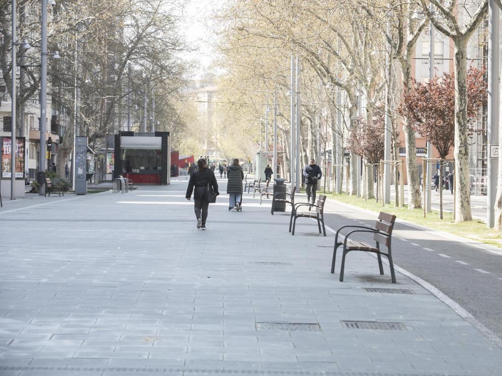 Vista del paseo de la Gran Vía, en marzo de 2020.