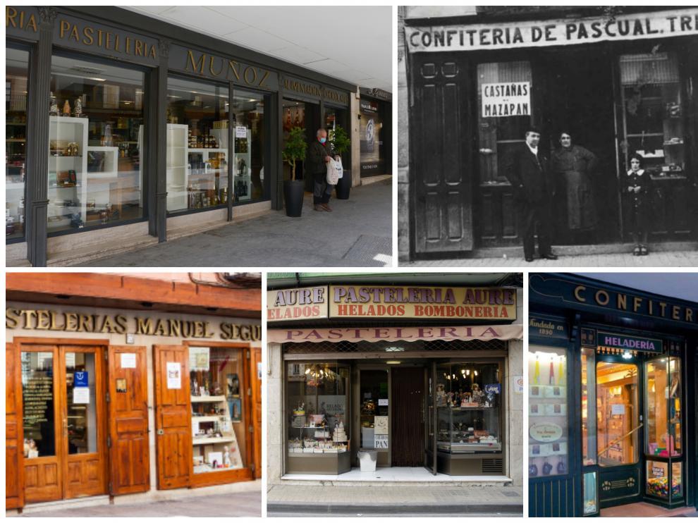 Varias pastelerías centenarias de Aragón.