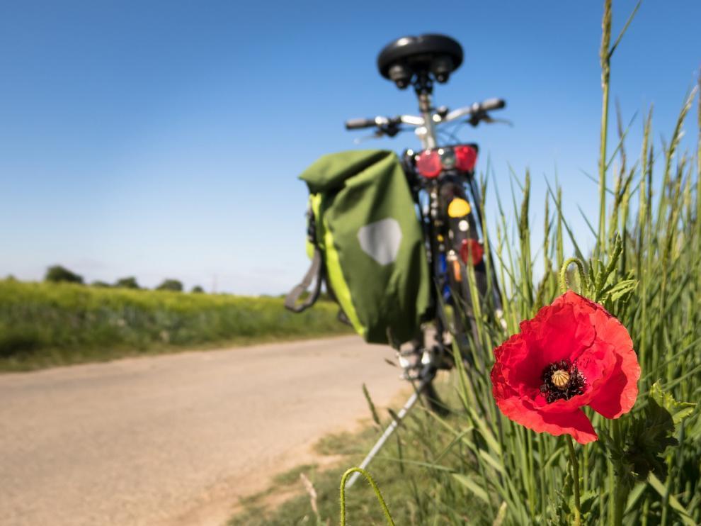 Foto de archivo de una bicicleta en el campo