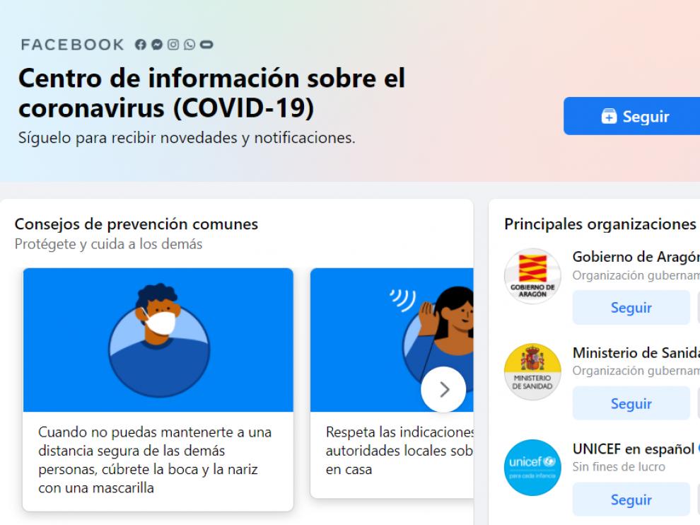 Información sobre el coronavirus en Facebook