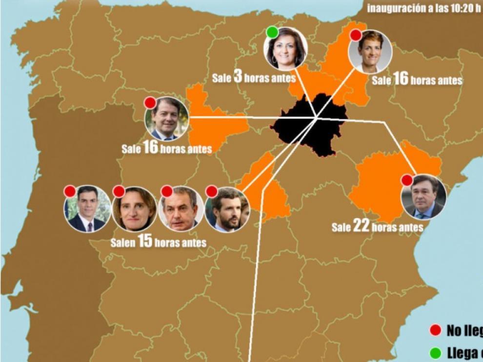 Las horas que tardarían varios políticos en llegar a Soria en transporte público.