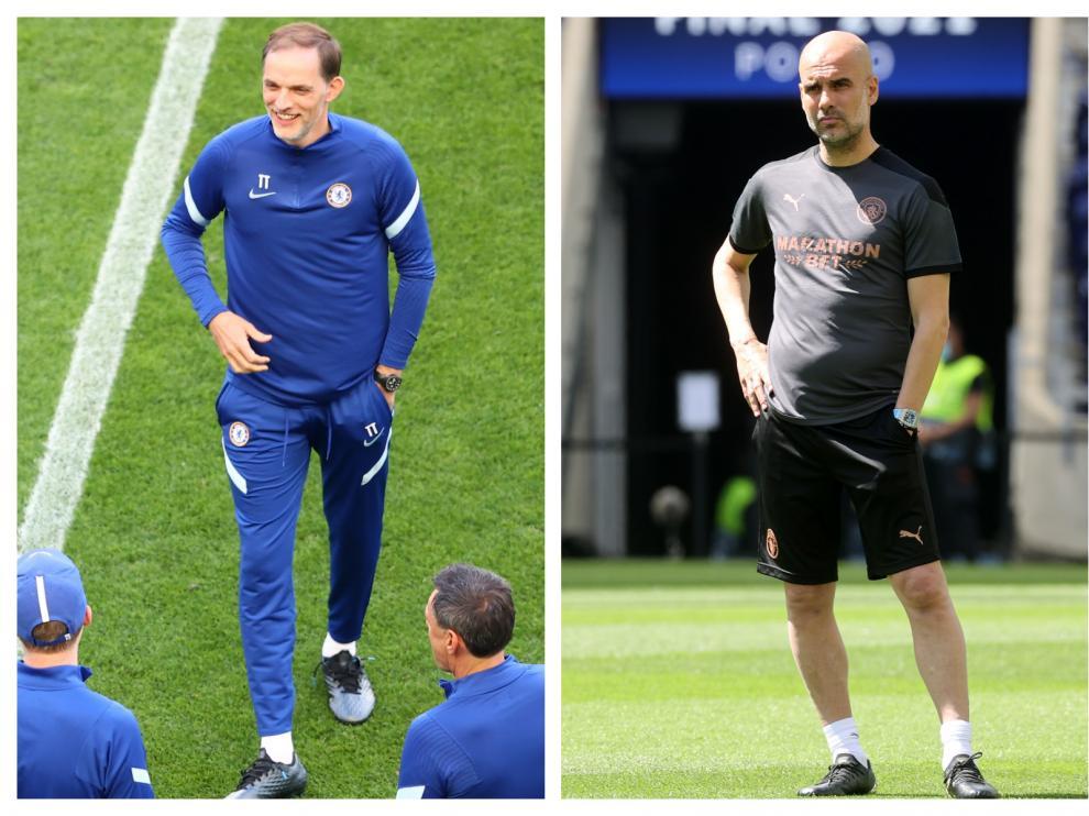Thomas Tuchel (Chelsea) y Pep Guardiola (Manchester City), en el estadio de Oporto