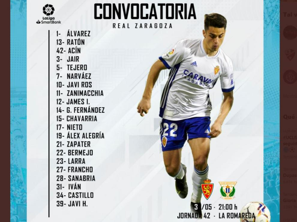 Lista de 21 convocados del Real Zaragoza para el partido final de liga ante el Leganés.