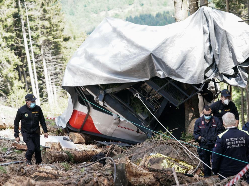 Stresa-Mottarone cable car accident site inspection