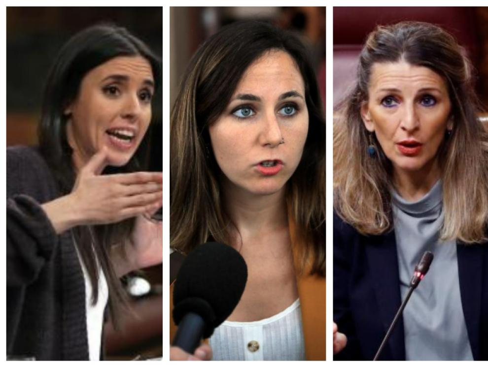 Las ministras de Unidas Podemos, Irene Montero, Ione Belarra y Yolanda Díaz.