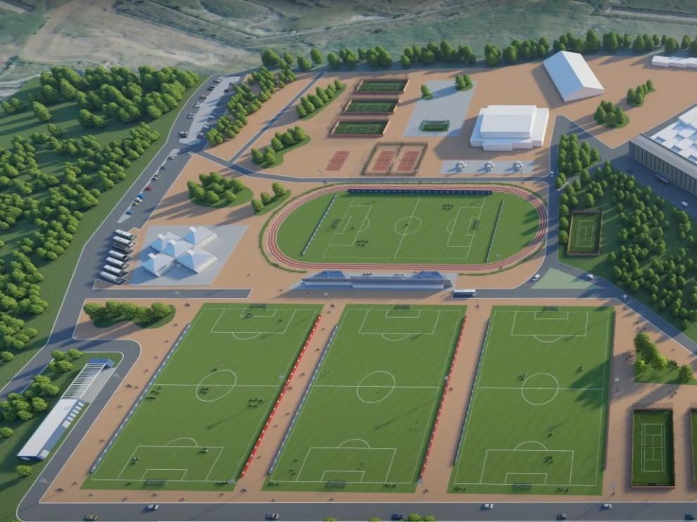 Recreación del futuro complejo de la Base Aragonesa de Fútbol.
