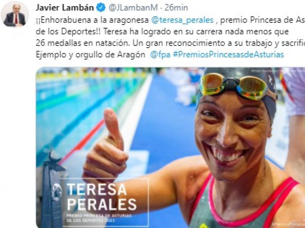 Mensaje de felicitación de Lambán a Perales.