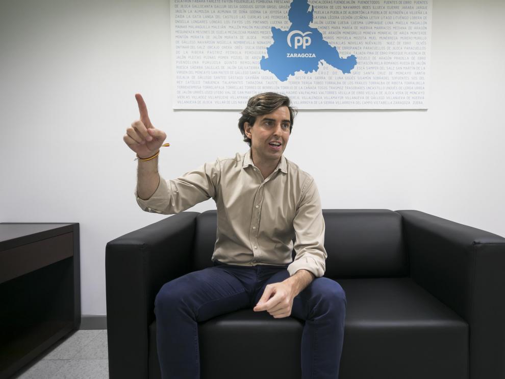 Pablo Montesinos, este miércoles, en la sede del PP de Zaragoza