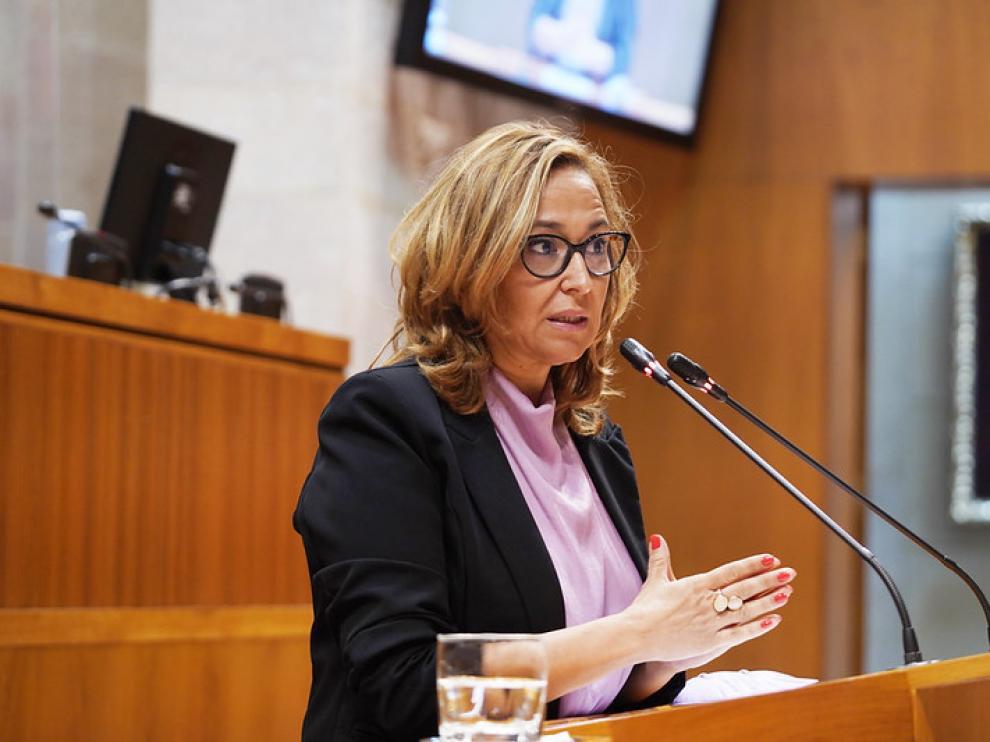 Mayte Pérez este jueves durante su comparecencia en las Cortes de Aragón