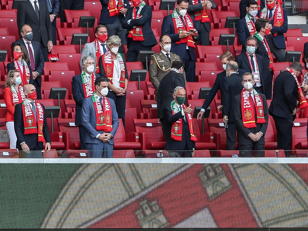 El Rey junto al presidente de Portugal en el estadio Wanda Metropolitano