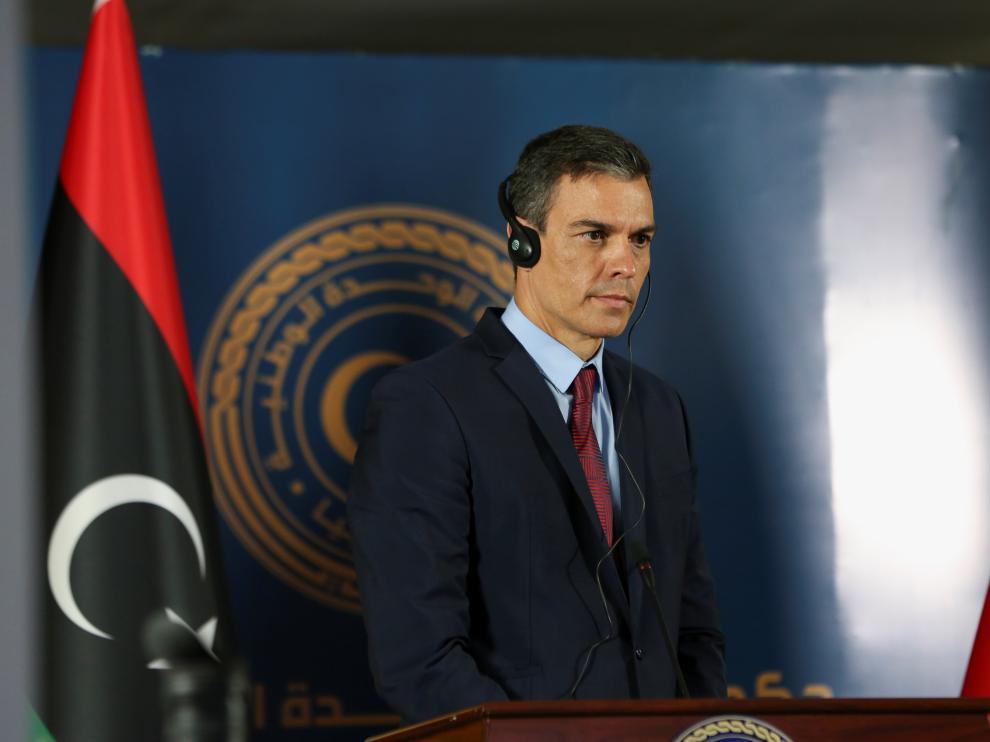 Pedro Sánchez durante su visita a Libia