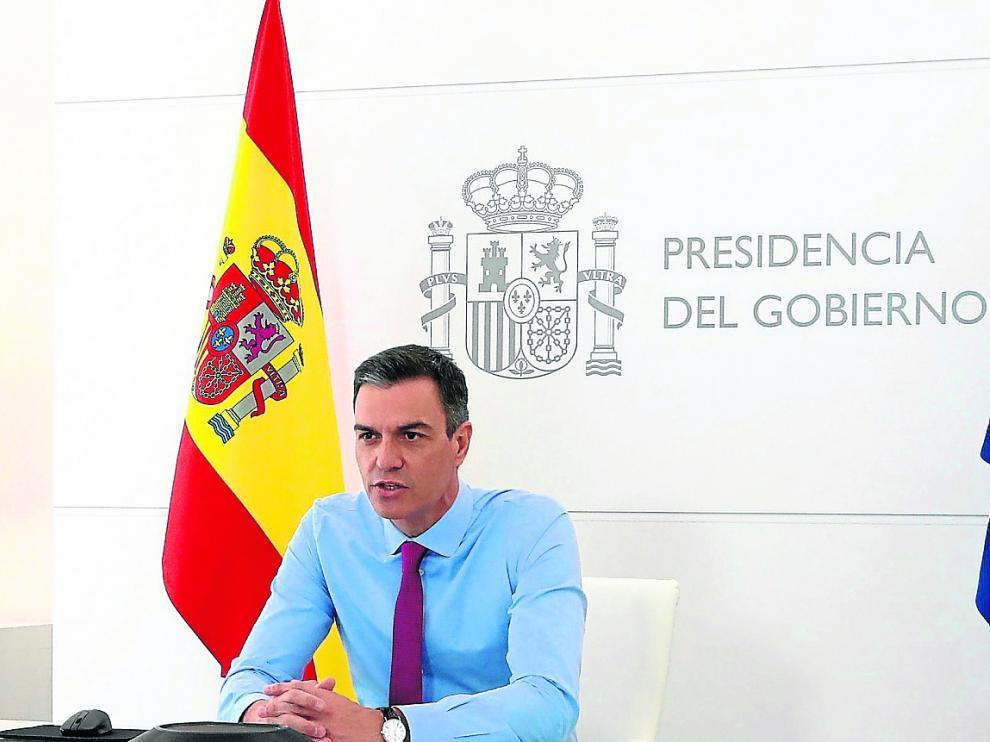 Sánchez mantuvo ayer una videoconferencia con el secretario general de la OTAN, Jens Stoltenberg