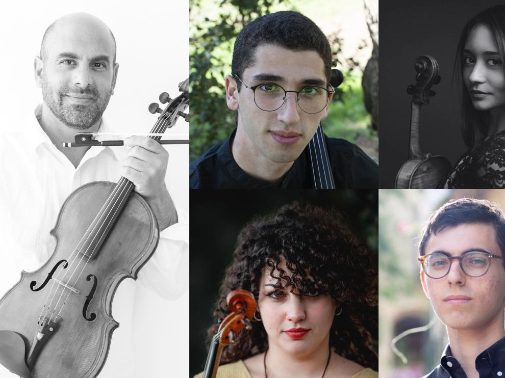 De izquierda a derecha y de arriba a abajo Avri Levitan, Izak Nuri, Karine Vandanyan, Vika Gelman y Lior Grunwald