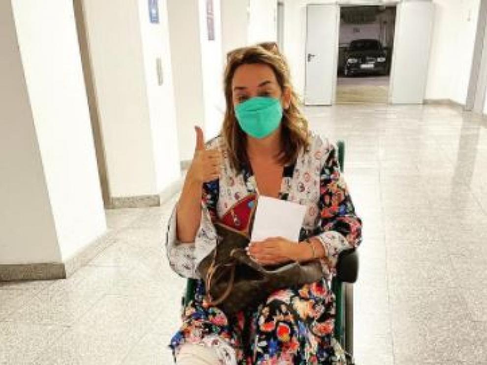 Toñi Moreno, en el hospital.