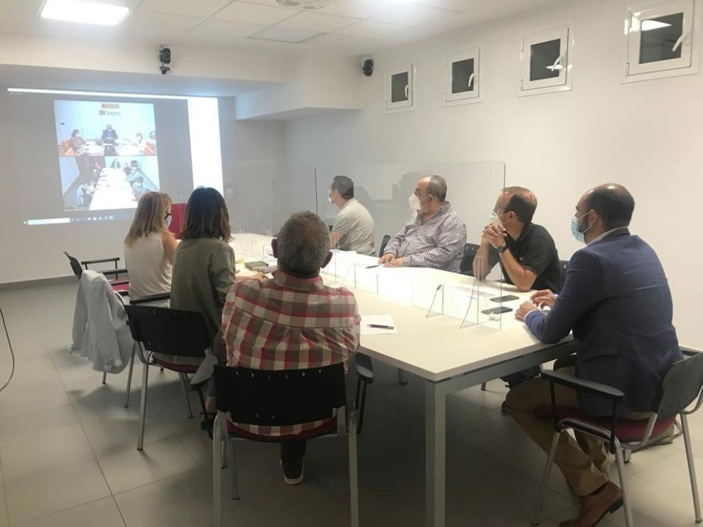 Reunión telemática entre los representantes del Ayuntamiento de Barbastro y del Sepes.