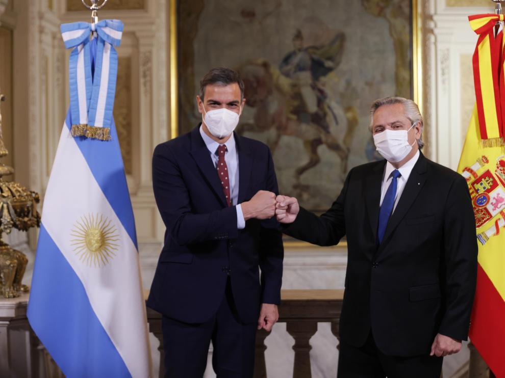 Pedro Sánchez y Fernández en la Casa Rosada, Argentina