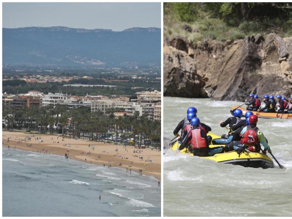 Estampa de Salou esta primavera y un grupo de jóvenes practicando 'rafting' en la provincia de Huesca.