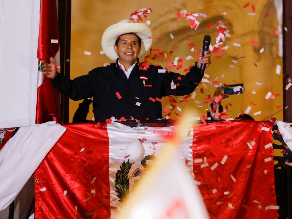 Pedro Castillo al proclamar su victoria