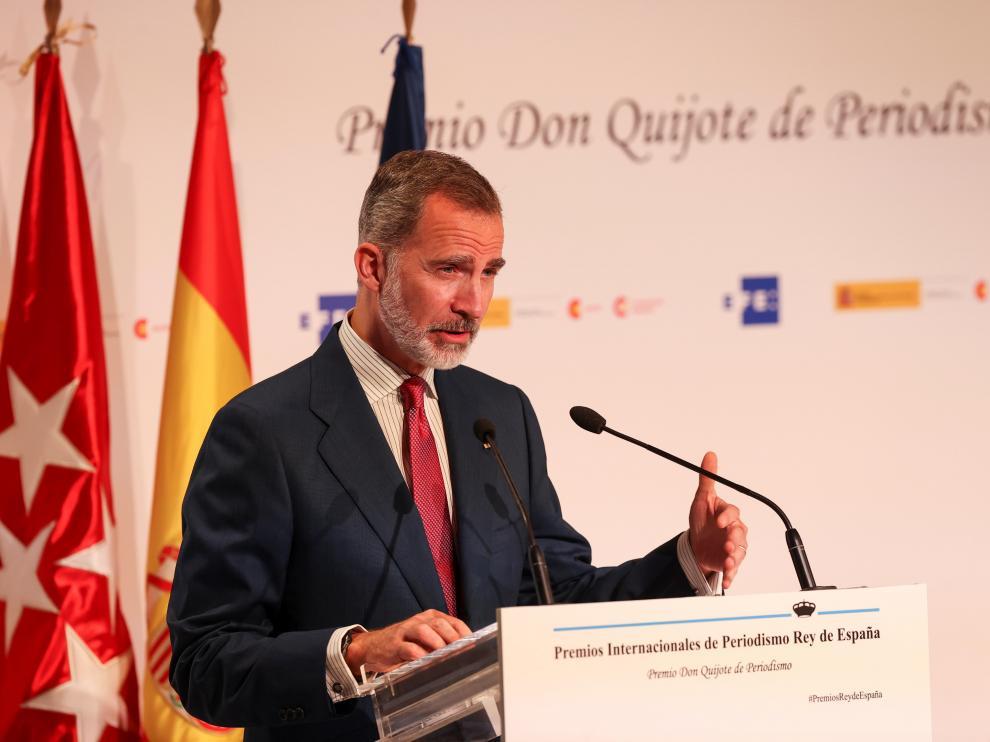 Felipe VI, durante su intervención en la entrega de premios.
