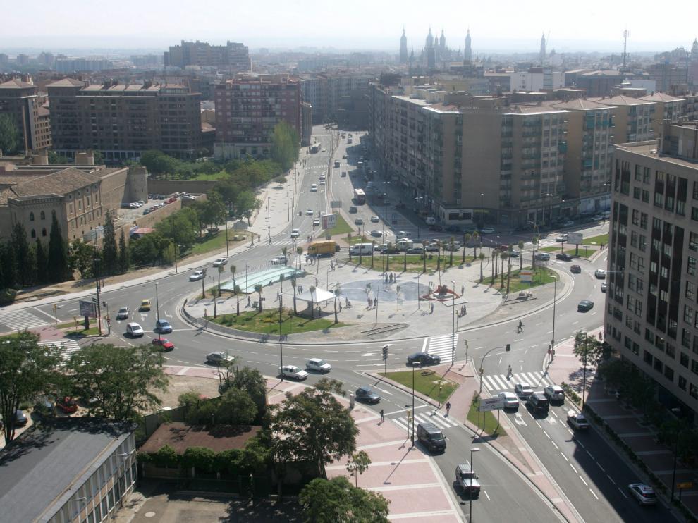 Rotonda de la Ciudadanía, en Zaragoza, donde confluyen la avenida de Madrid con la avenida Ciudad de  Soria