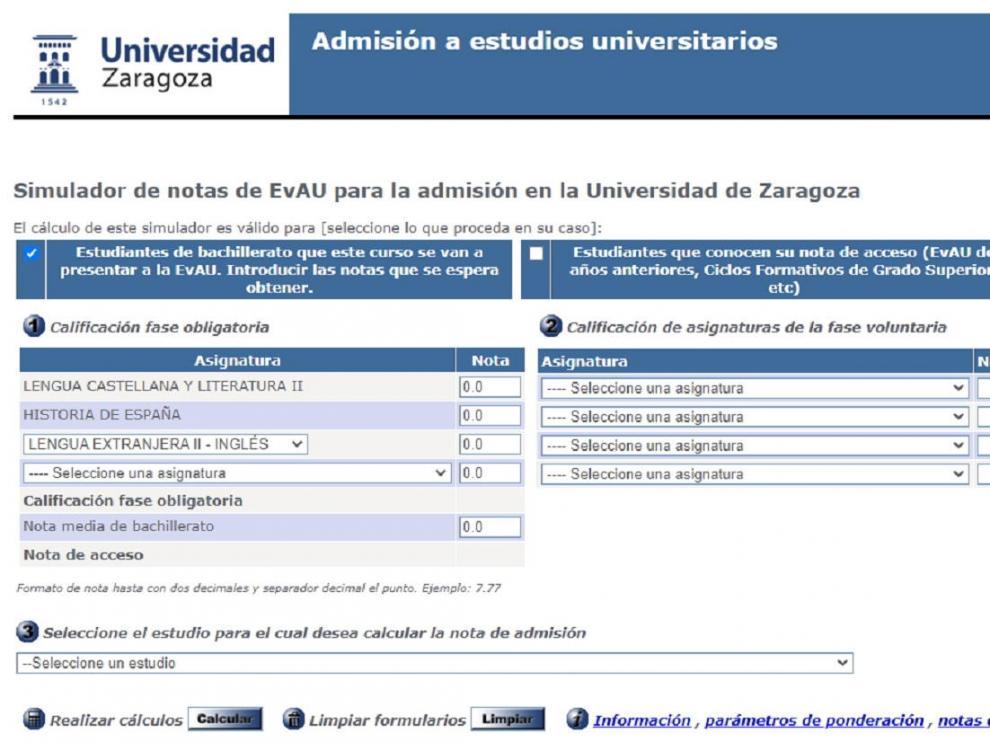Simulador de notas de la Universidad de Zaragoza