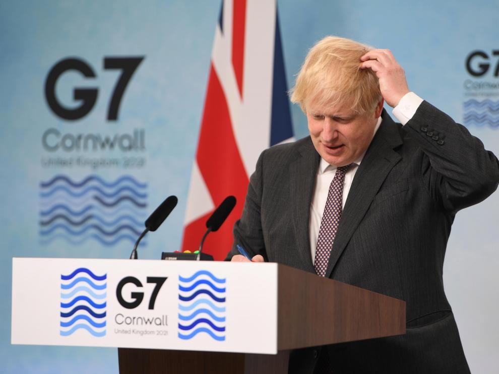 Boris Johnson, durante la rueda de prensa tras la cumbre del G-7.