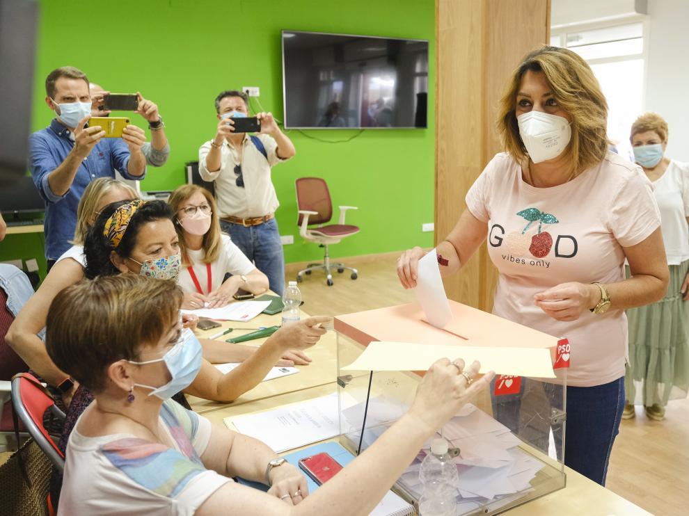 Susana Díaz vota este domingo en las primarias del PSOE-A
