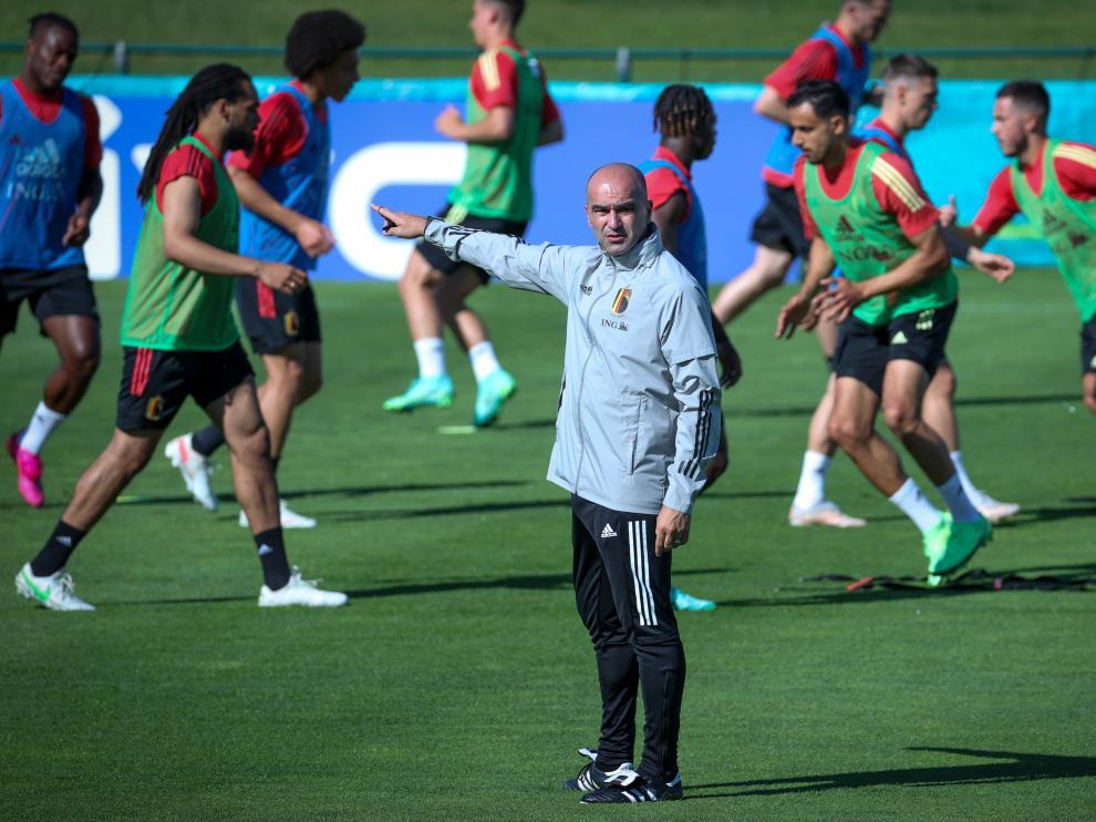 Roberto Martínez, en un entrenamiento de la selección belga en esta Eurocopa-.