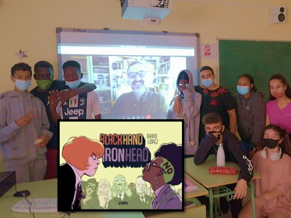 Los alumnos charlaron con el historietista por videoconferencia