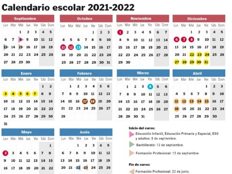 Calendario escolar en Aragón para el curso 2021-2022